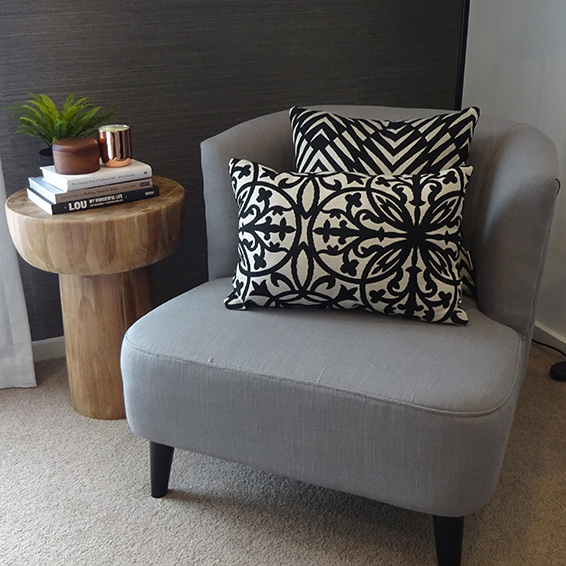 Amalfi Black and Palm Cove Black on grey occasional chair