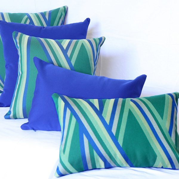 St Tropez - Green outdoor scatter cushions made from Sunbrella fabric.