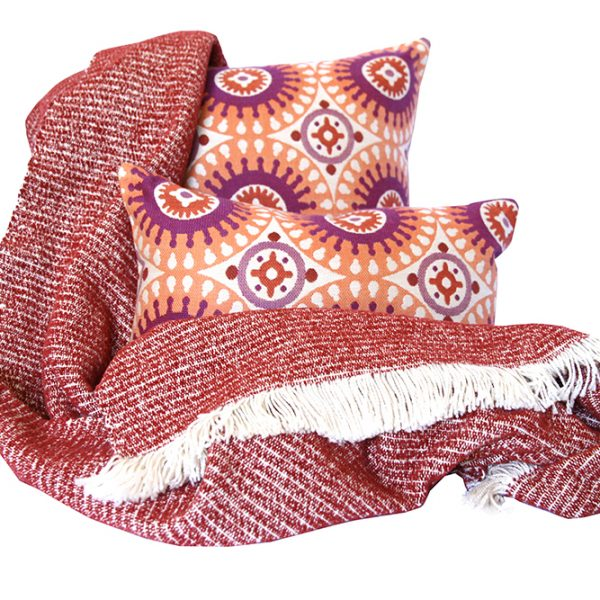 Rust Chenille Feel Two Tone Throw