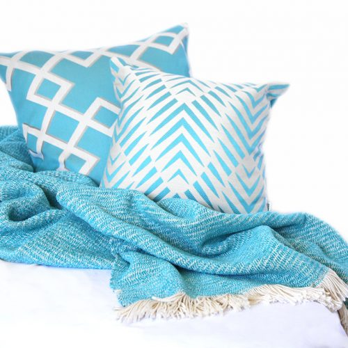 Turquoise Chenille Feel Two-Tone Throw