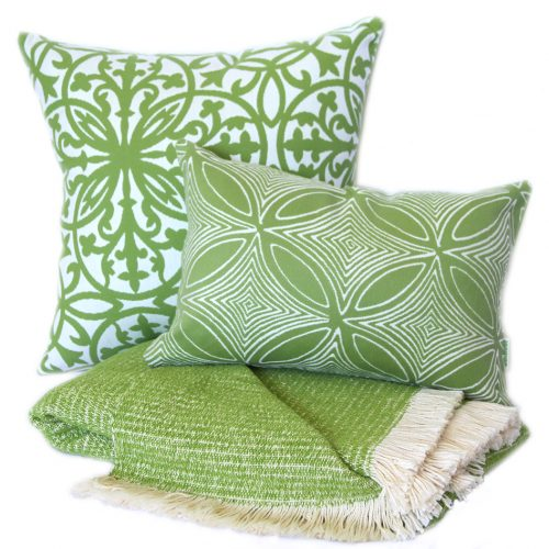 Lime Chenille Two-Tone Throw