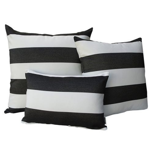 Monte Carlo - Black and White Sunbrella striped outdoor cushions
