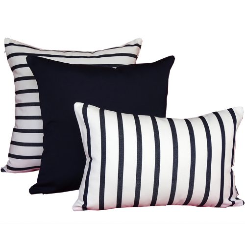 Capri - Navy & White striped outdoor cushions - Outdoor Interiors Australia