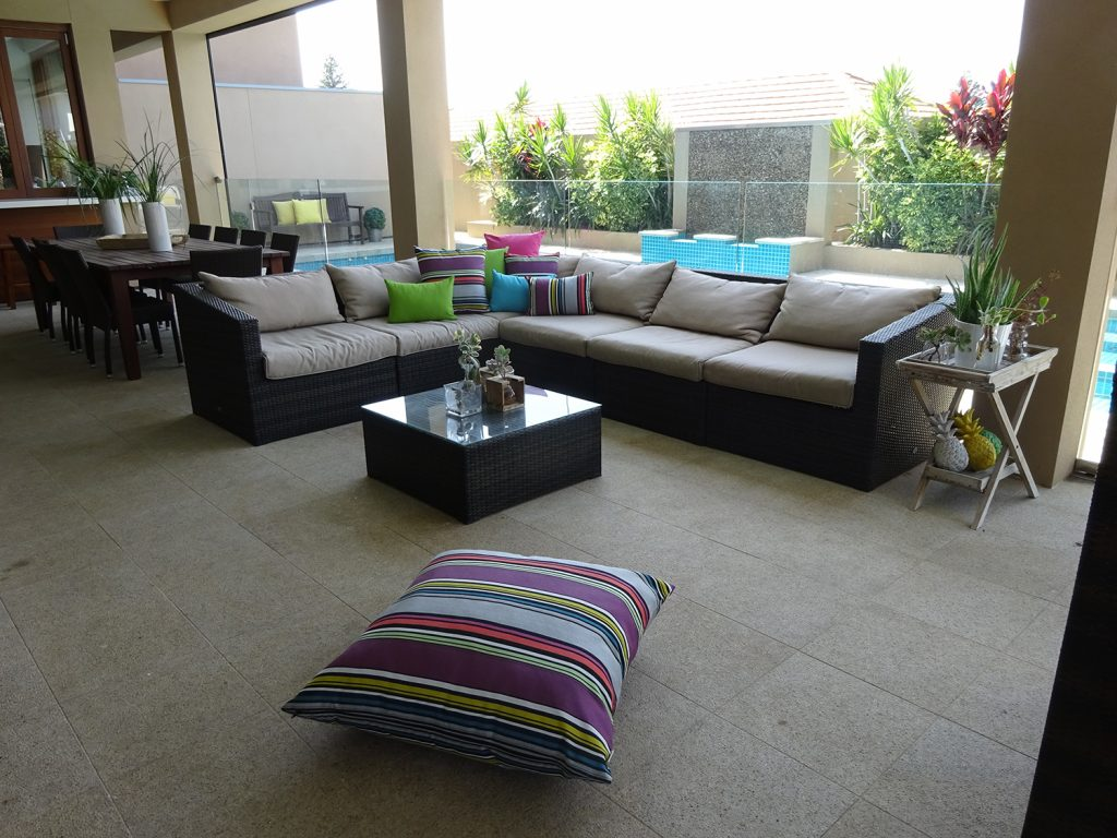 Contemporary Indoor Cushions Outside With Weather Resistant Cushions