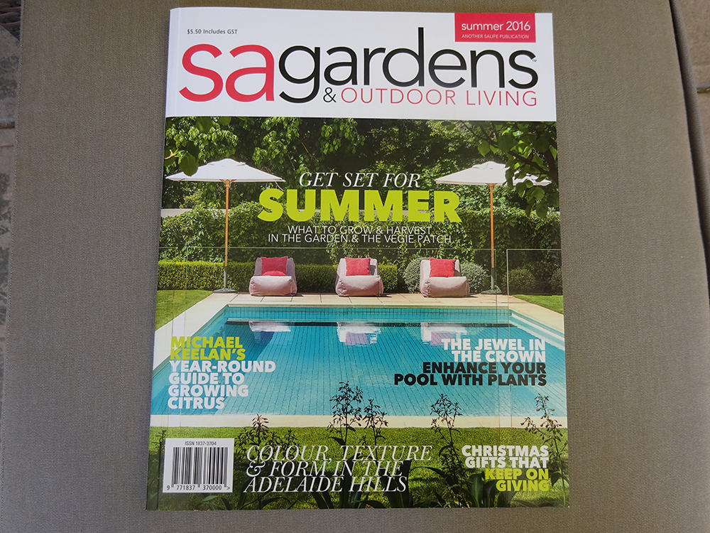 Featured in sa gardens outdoor living magazine summer for Outdoor living magazine