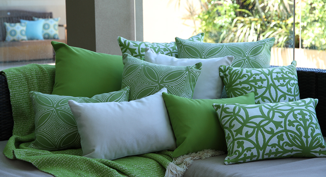 Lime Green Sunbrella Outdoor Cushions on couch