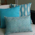 Bora Bora Chevron Turquoise Sunbrella outdoor cushions on chair
