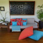 St Tropez Coral and Turquoise on outdoor couch