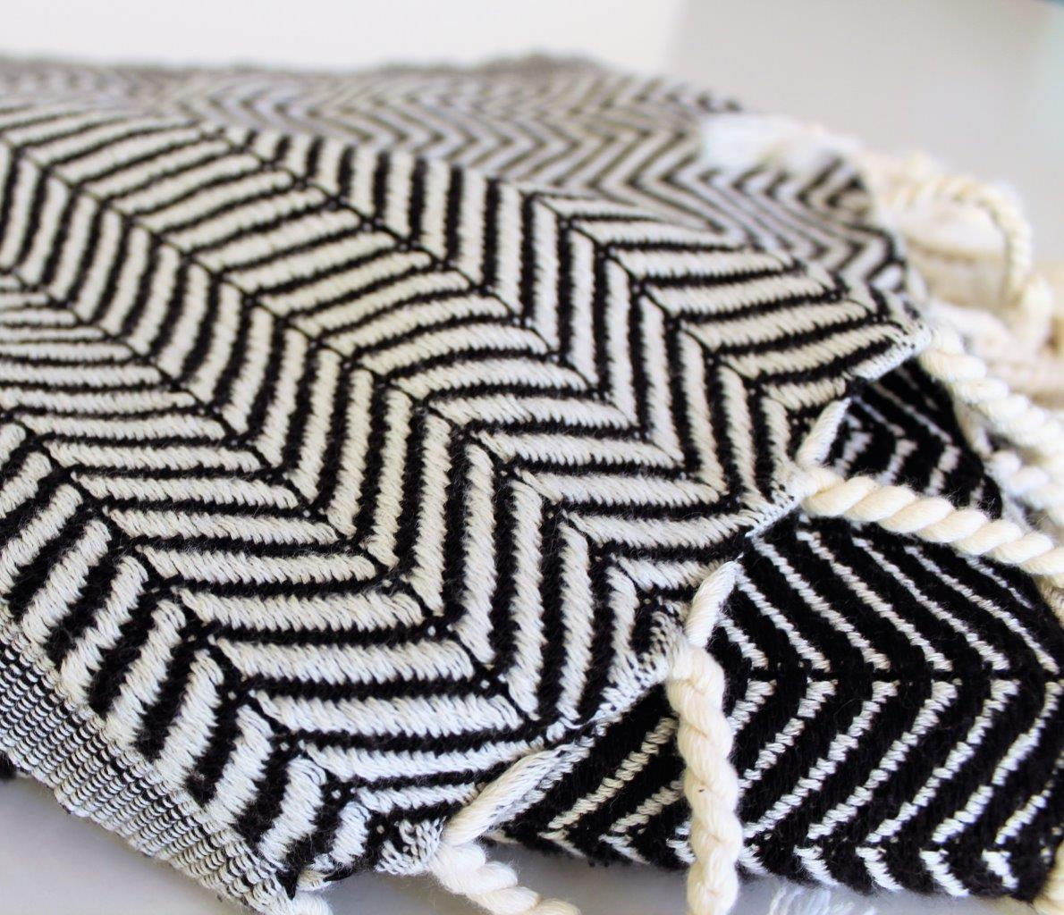 Chevron Black Turkish Towel