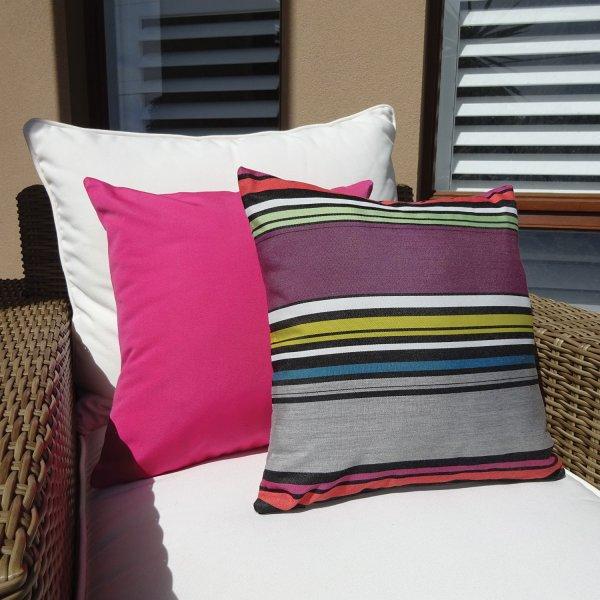 Sunbrella Pink and Rio Pink Sunbrella outdoor cushions