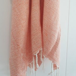 Zig Zag Peach Turkish Towel