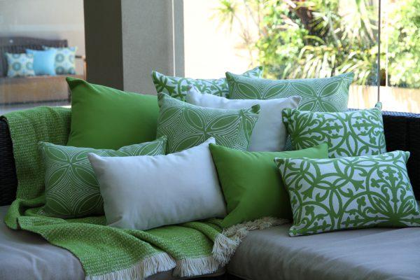 Off White Bordeaux Grey Pago Pago and Zanzibar Blue Sunbrella outdoor cushions