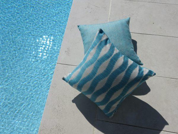 Bora Bora and Chevron Turquoise Outdoor Cushion