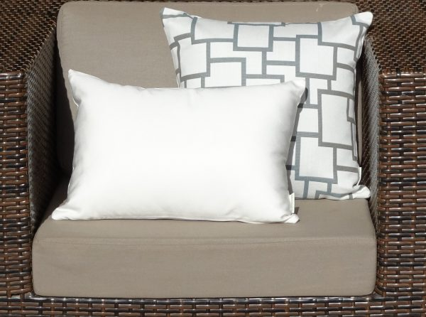 Bordeaux Grey and Off White on wicker chair