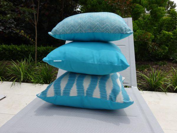 Chevron Turquoise Bora Bora Outdoor Cushion Stack