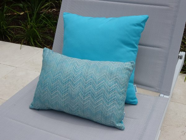 Chevron and Turquoise outdoor cushions on sun lounger