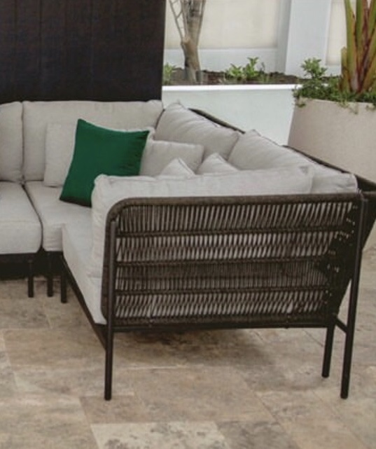 Forest Green Sunbrella outdoor cushion on outdoor lounge