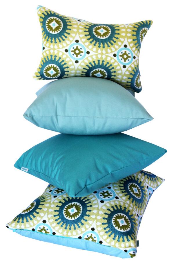 Marrakesh Green Sunbrella stacked cushions