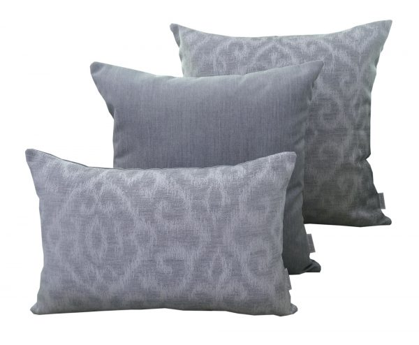 Morocco Silver Grey and Silver Grey Sunbrella Outdoor Cushions