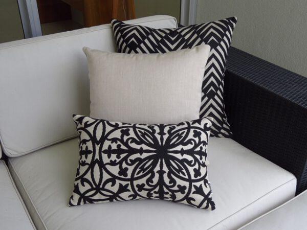 Palm Cove Black Flax Amalfi Black outdoor cushions Sunbrella