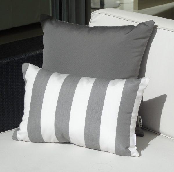 Positano Grey and Charcoal Grey Sunbrella outdoor cushions