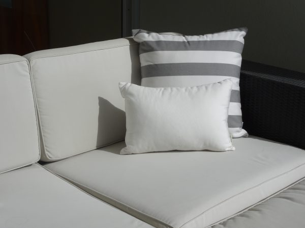 Positano Grey and Off White Sunbrella outdoor cushions