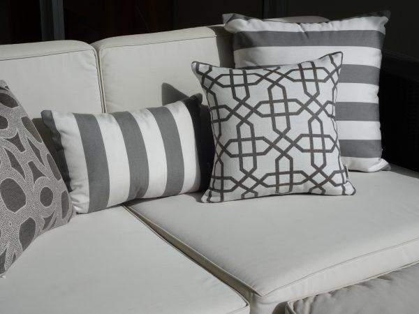 Positano Grey and various Sunbrella greys outdoor cushions