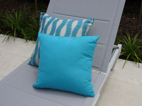 Turquoise and Bora Bora outdoor cushions on sunlounger