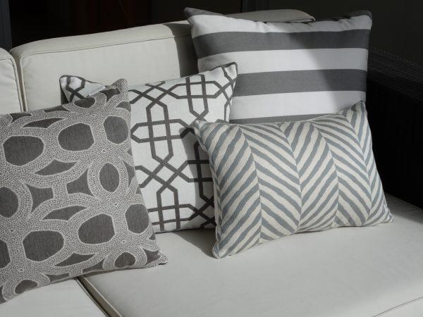 Zimbali Grey and Various grey outdoor cushions