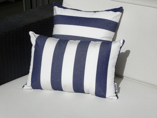 Positano Navy 30x45 horizontal and 40x40cm Sunbrella outdoor cushions on white couch