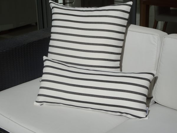 Biarritz Black and Cream stripe outdoor cushion