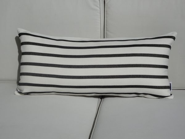 Biarritz Black 30x65 stripe outdoor cushion