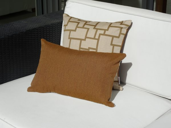 Bordeaux Teak and Teak Sunbrella outdoor cushions on outdoor couch