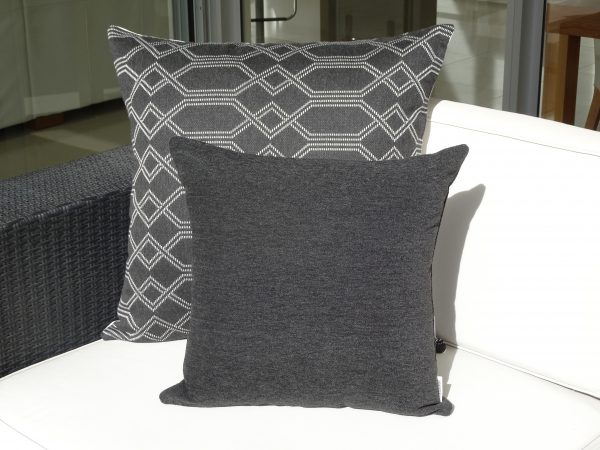 Navajo Grey and Charcoal Grey Sunbrella outdoor cushions