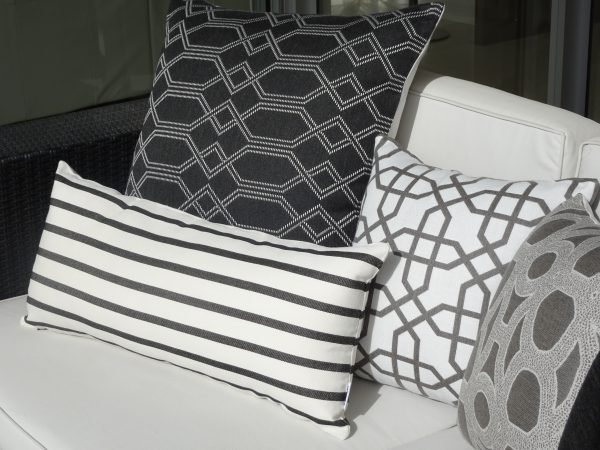 Navajo Grey, Seychelles Grey Biarritz Black Sunbrella outdoor cushions