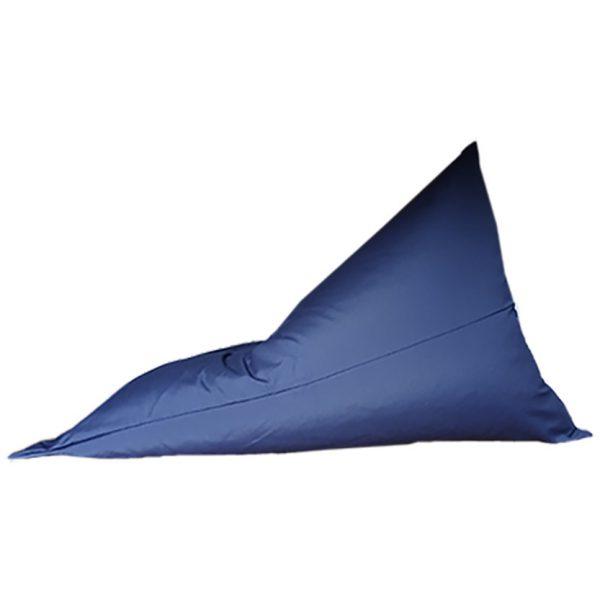 Navy Sunbrella outdoor bean bag side view
