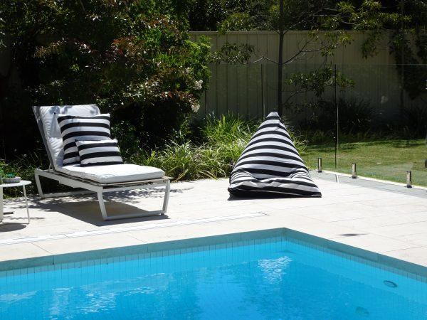Positano Black outdoor bean bag and cushions Sunbrella
