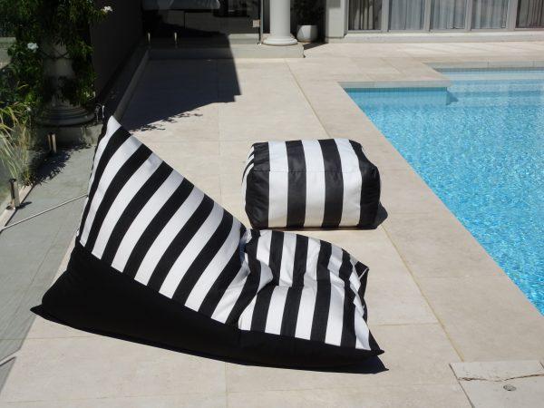 Positano black outdoor bean bag Sunbrella