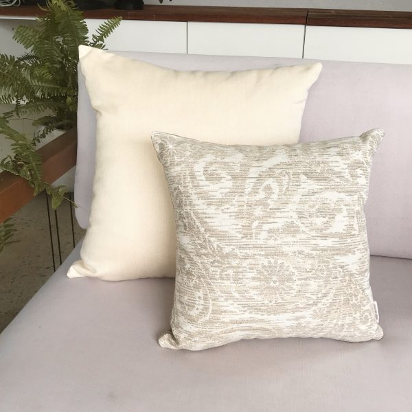 Chennai Heather Beige and Cream on couch Sunbrella outdoor cushions from Outdoor Interiors