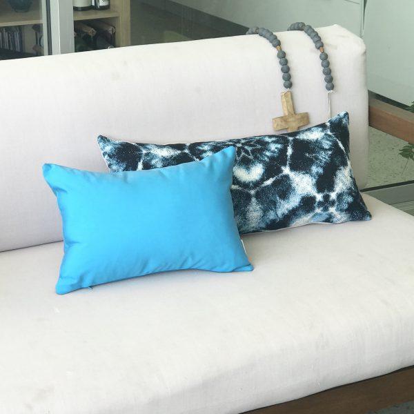 Cyan Blue 30x45 Santorini 30x65 on outdoor lounge Sunbrella outdoor cushions from Outdoor Interiors