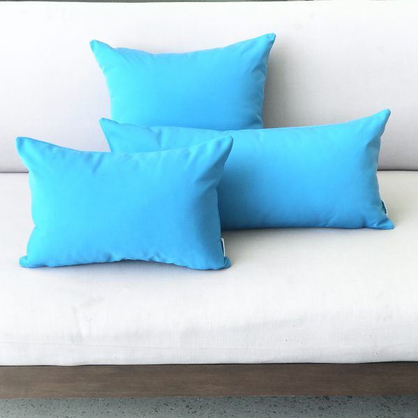 Cyan Blue group on outdoor lounge Sunbrella outdoor cushions from Outdoor Interiors