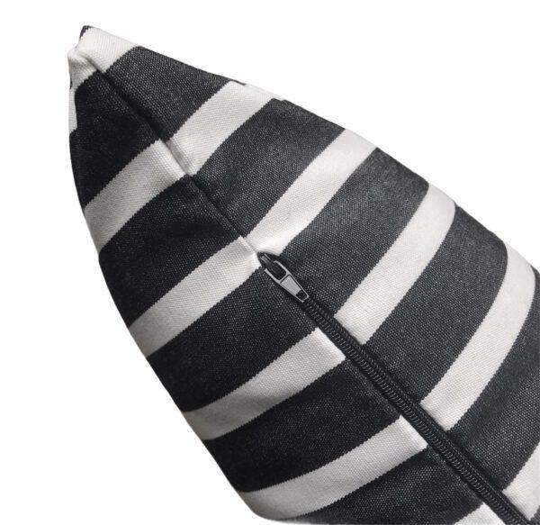 Sorrento Black Zip View Sunbrella Fade and Water Resistant Outdoor Cushion
