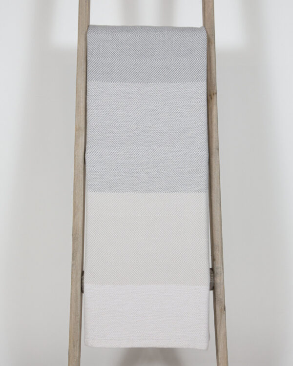 Ombre Sunbrella Throw Marble on ladder